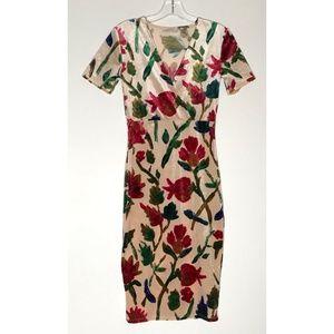 Zara Trafaluc Red Green Floral  Cross V Neck Dress
